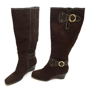Aerosoles Tall Buckle Brown Boots Size 8